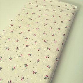 Algodón flores y topos beige