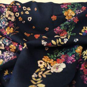 Algodón efecto viscosa negro flores colores (2)