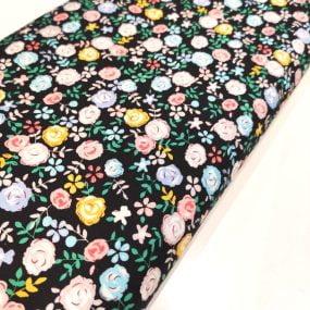 popelin fondo negro flores colores